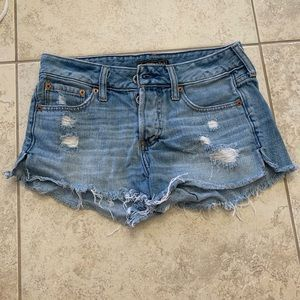 Abercrombie & Fitch Light Wash Distressed Shorts